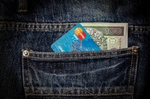 money and bank card in back pocket